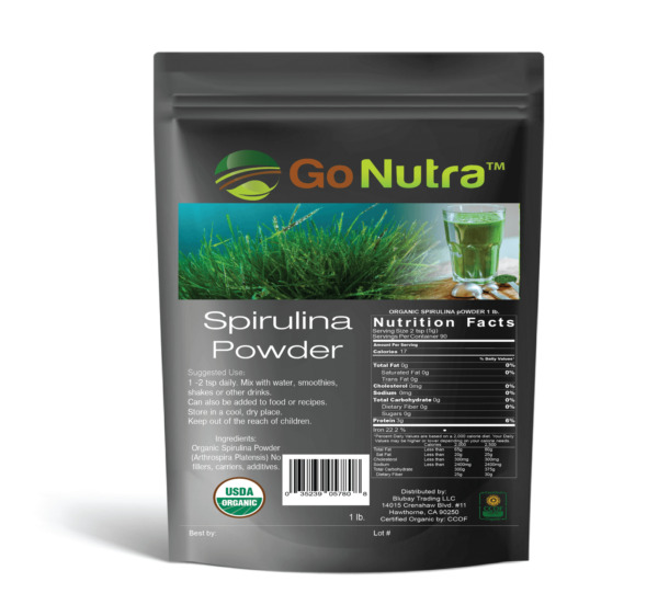 Spirulina Powder Organic 100% Pure Non-Gmo Non-Irradiated 1 lb - 16 ounce