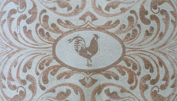 Art Tile Stone Floral Decor Rooster Marble Mosaic AN978