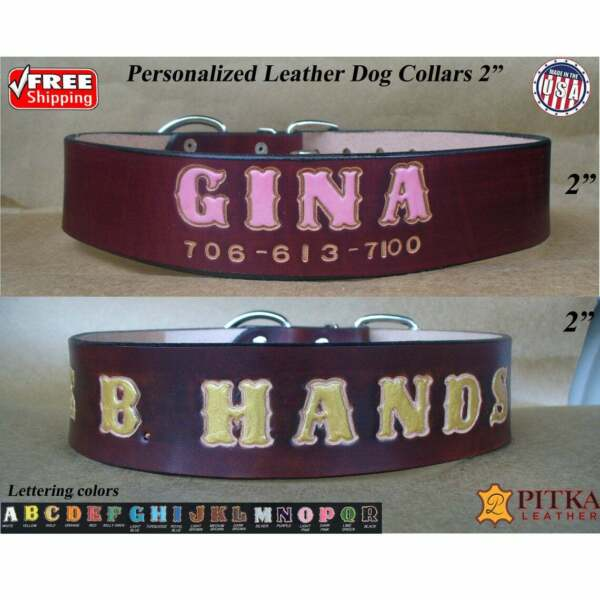 Mahogany Custom made Leather Dog Collar Big Dog Personalized Collars XXL USA $47.00