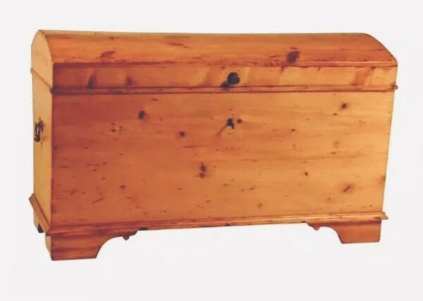 c.1725 Antique Blanket Chest Colonial Immigrant Chest Dome Trunk Treasure Chest