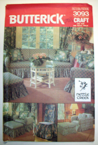 Wrap and tie slipcovers chairs ottomans pattern 3093 unused $7.99