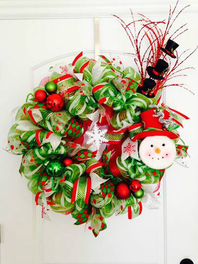 Holiday Wreaths - Red Green Pink Blue White & More! Handmade! Fast Shipping!