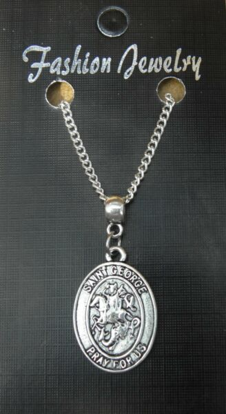 St George Pendant Necklace 18quot; or 24 Inch Chain Saint Charm Religious GBP 4.49