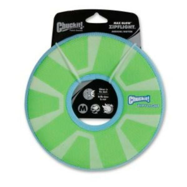 Chuckit MAX GLOW ZIPFLIGHT Dog Fetch Glowing Frisbee Flyer Flying Disc Ring 21cm