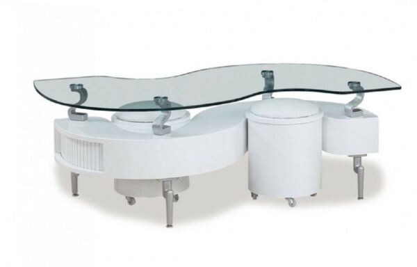 Glass Top Storage Coffee Table  and Ottomans in White Color - Modern and Unique