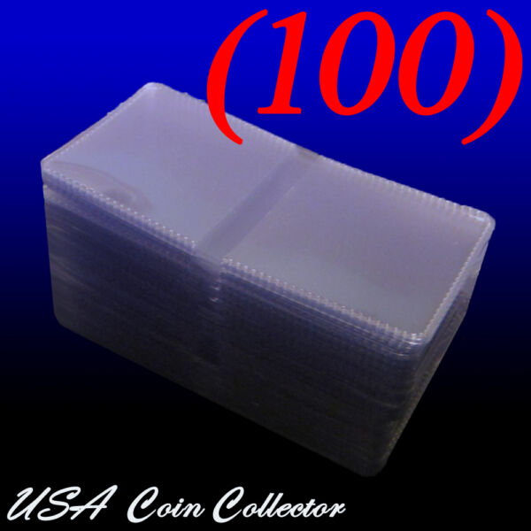 100 2x2 Double Pocket Vinyl Coin Flips for Storage amp; Display Plastic Holders