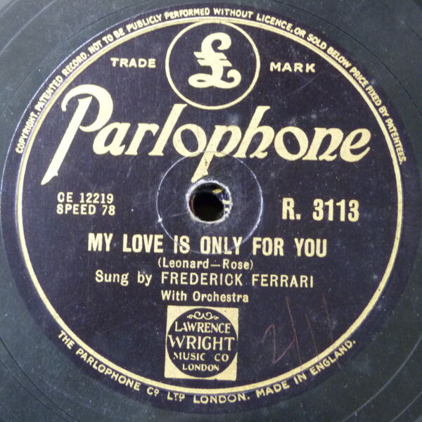 78rpm FREDERICK FERRARI my love is only for you  love descended like an angel