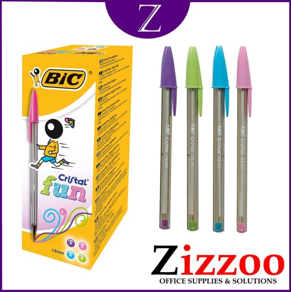 20 BIC CRISTAL FUN PENS LARGE IN VARIOUS COLOURS