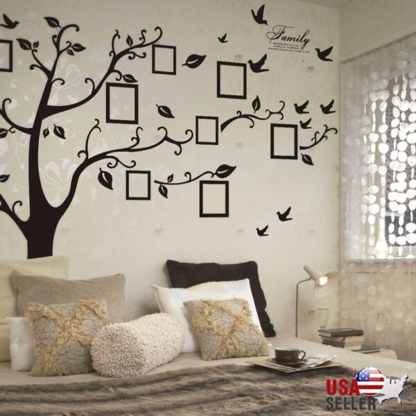 Family Tree Wall Decal Sticker Large Vinyl Photo Picture Frame Removable Black