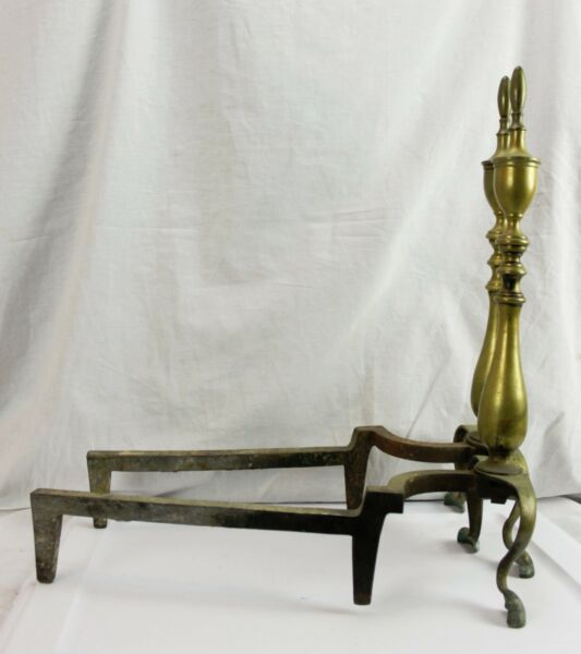 Vintage Brass Chippendale Fireplace Hearth Andirons 20