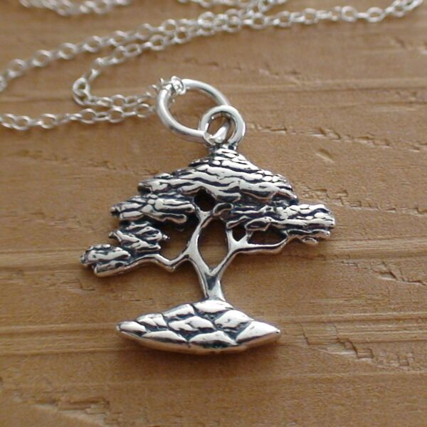 Cypress Tree Necklace 925 Sterling Silver Cypress Charm Tree Jewelry