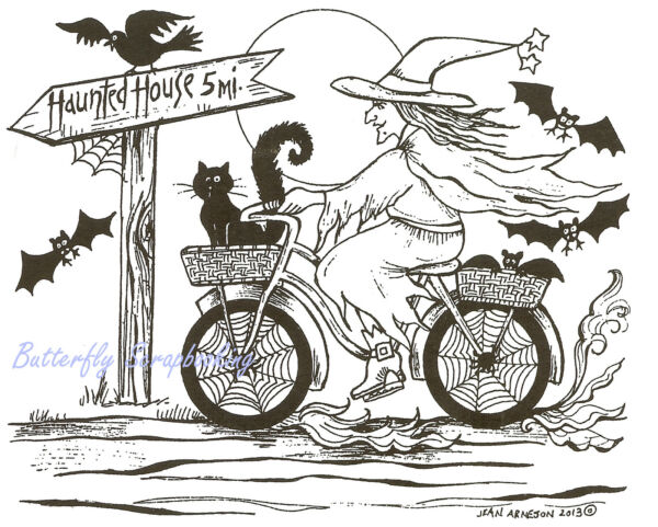 Halloween Witch On Bike Wood Mounted Rubber Stamp Northwoods Rubber Stamp New $17.50
