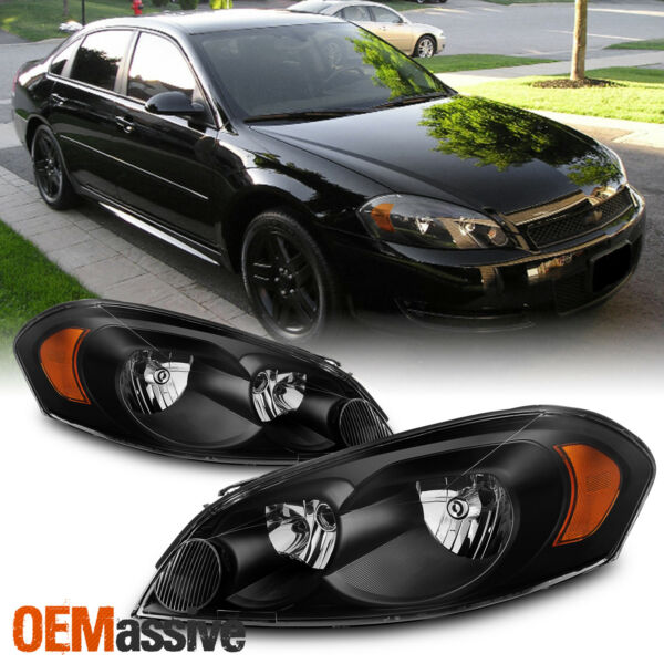 Fit 06-13 Chevy ImpalaMonte Carlo Black Replacement Headlights Headlamps L+R