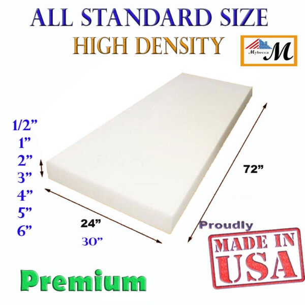 High Density Upholstery Seat Foam Cushion Replacement Per Sheet Standard Sizes