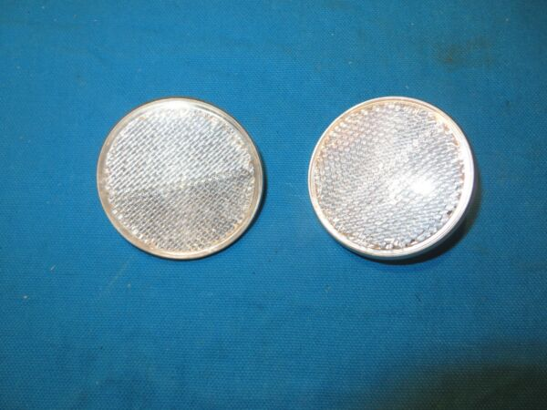 Bicycle Round White Reflector Diameter 2 1 4quot; With Medal Back Set of 2