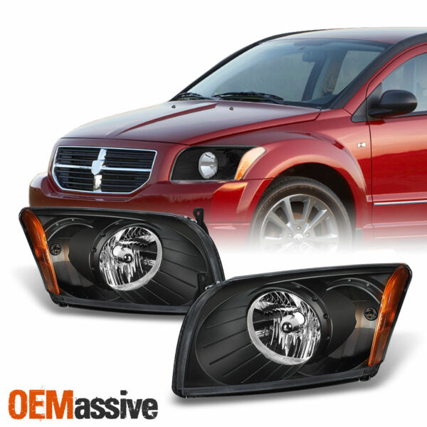 Fit 07-12 Dodge Caliber Black Replacement Headlights Headlamps Left + Right Pair