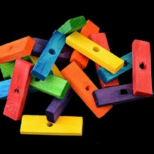 30 Wood Blocks 2quot;Colored Wooden Parrot Bird Toy Parts W 1 4quot; Hole Bright Colors