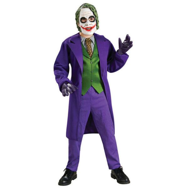 Joker Costume Boys Deluxe Kids Child Youth Batman Villain Outfit