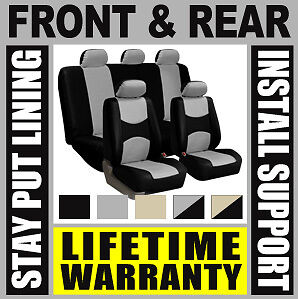 Gray & Black Complete Full Car Seat Covers Set - Oem Solid Rear Truck Suv Baa