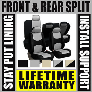 GRAY & BLACK COMPLETE FULL CAR SEAT COVERS SET - OEM Split Fold Truck SUV BD2443