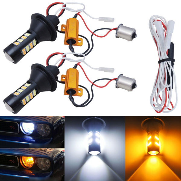 No Hyper Flash 1156 S25 Switchback LED Bulbs for Front Turn Signal Lights w DRL