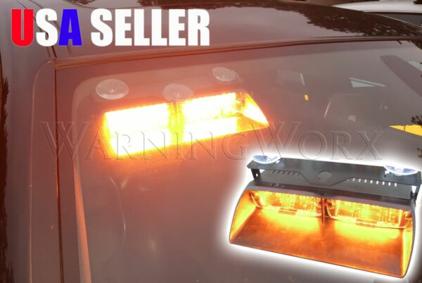 LED Amber Hazard Windshield Deck Strobe Flasher Suction Cup Glass Mounted