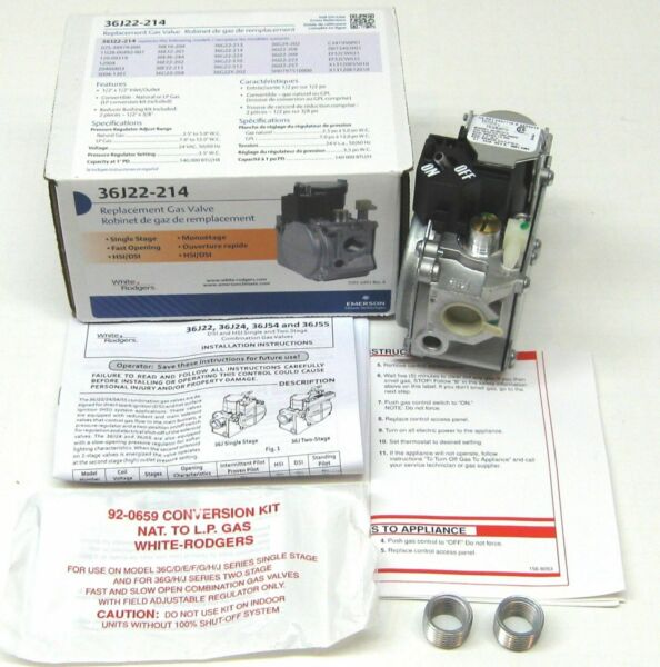 36J22 214 White Rodgers Gas Heating Furnace Valve 24V for Carrier Trane York $61.20