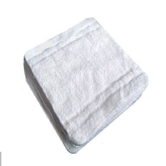 60 new white 100% cotton pacific mills 12x12 washcloths hotel