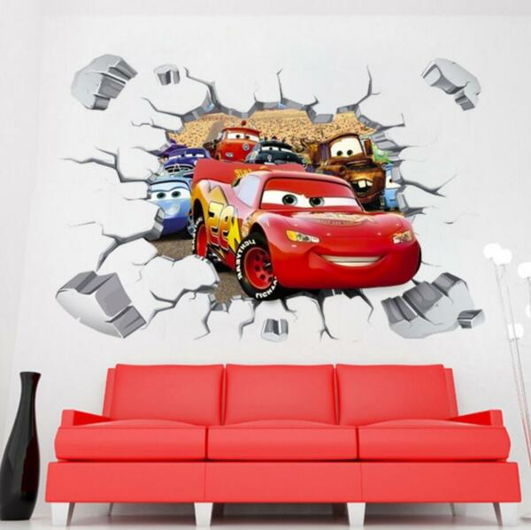 Disney 3D Cars McQueen Mater removable Wall Stickers Decal Kids Home Decor USA