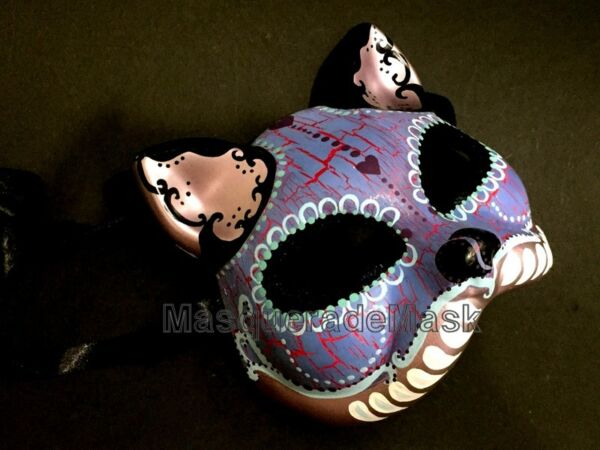 Halloween kitty cat mask Día de Muertos unisex children adult costume party