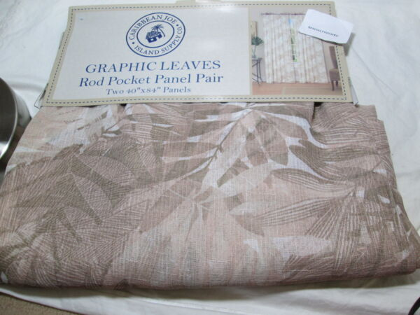 Caribbean Joe Island Supply GRAPHIC LEAVES Rod Pocket Panels - Two 40x84 Neutral
