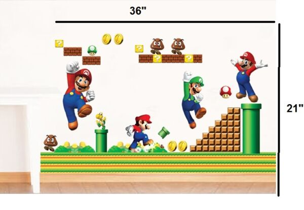 NEW Super Mario Bros Removable HUGE Wall Stickers Decal Kids Home Decor USA $7.34