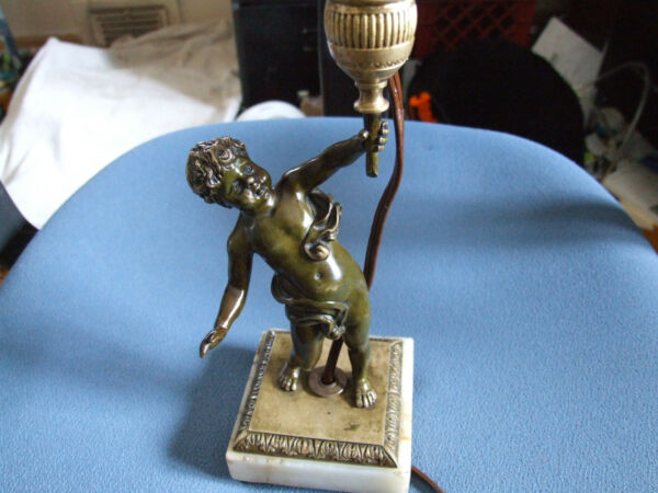 1900's Vintage Bronze & Marble Little Boy Table Lamp