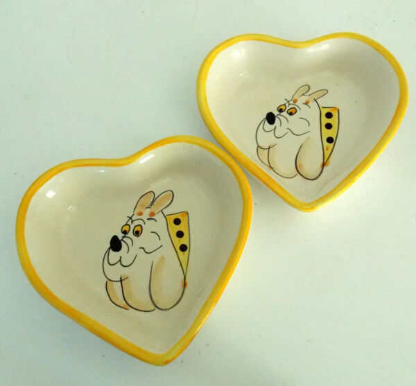 HEART SHAPED DOG DISHES CERAMIC WITH DOG ART HAND PAINTED UNDER GLAZE PORTUGAL $31.99