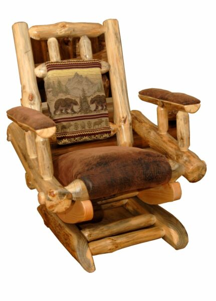 Rustic Pine Log Rocking Chair on Platform – Upholstered – Amish Made in USA