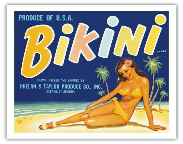 Bikini Brand - Produce of U.S.A. 1950s Vintage Fruit Crate Label Fine Art Print