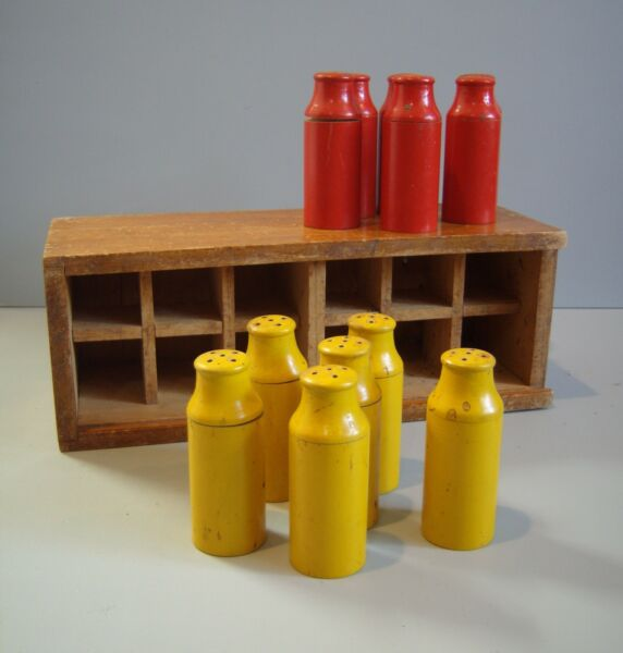 VTG Folk Art Wooden Milk Bottle Crate Toy in Box