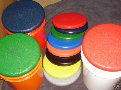 50--COLORED PLASTIC BUCKET LIDS --Fit  56 Plastic pail--Domed Lids Heavy Duty