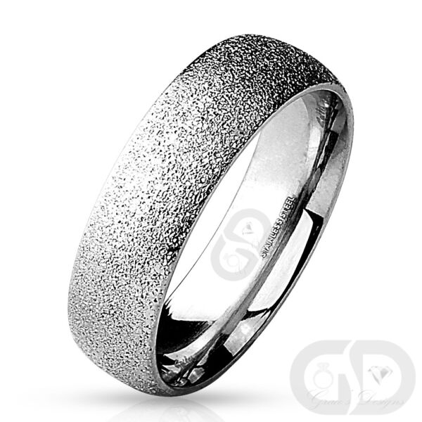 Stainless Steel 6mm Half Round Wedding Band Sand Blast Finished Comfort Fit Ring