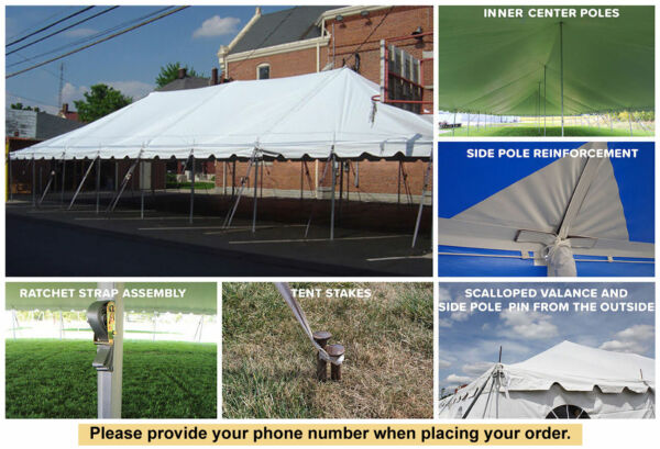30x60 White Vinyl Classic Pole Tent for Wedding Outdoor Event Party Catering