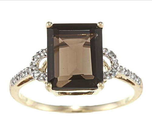 10k Yellow Gold Emerald-Cut Smokey Quartz and Diamond Ring (18 TDW)