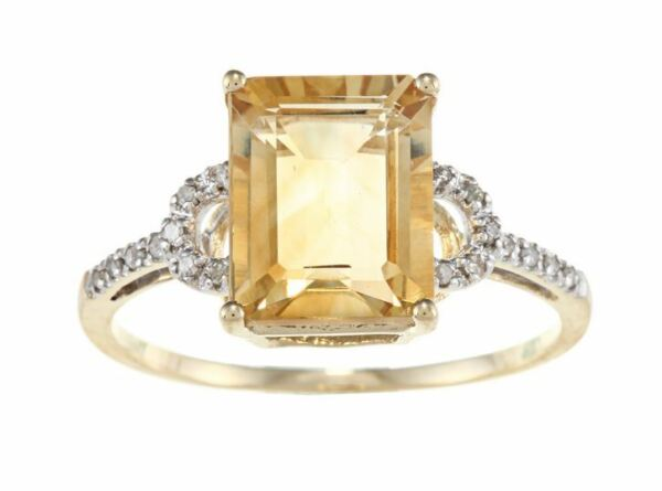 10k Yellow Gold Emerald-Cut Citrine and Diamond Ring (18 TDW)