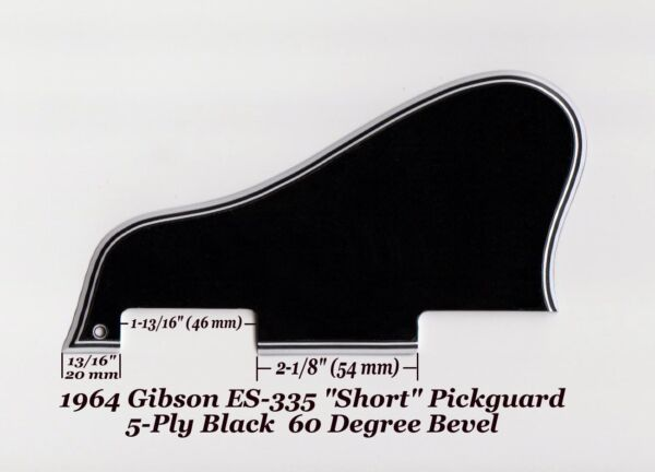 ES-335 SHORT 1964 AGED Pickguard 5-Ply Blk & Bracket made for Gibson Project NEW