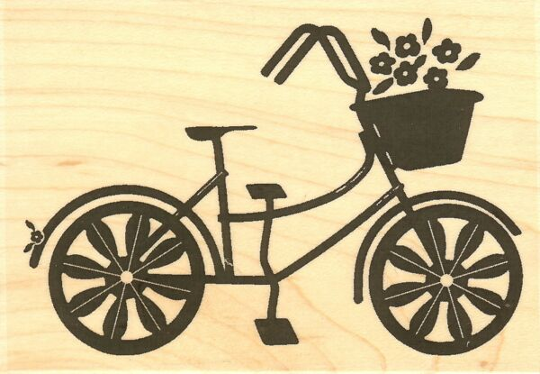 Flower Power Bike Wood Mounted Rubber Stamp IMPRESSION OBSESSION NEW E9966 $13.40