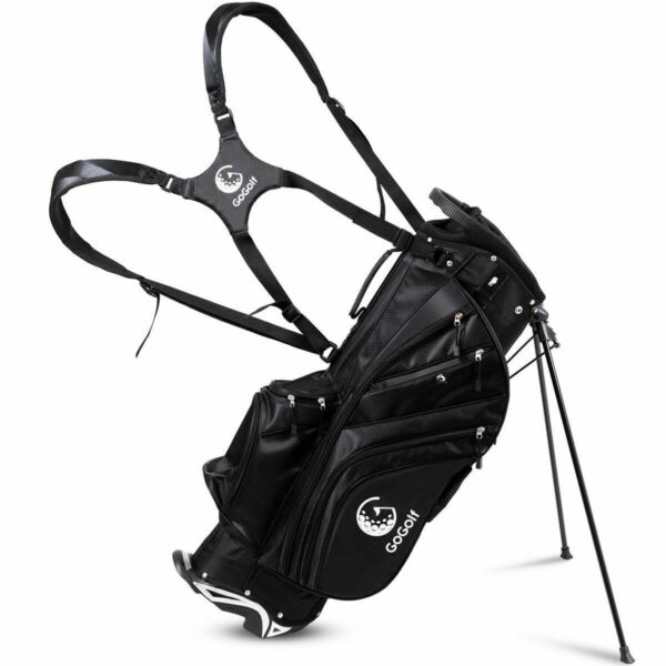 Hyper-Lite Golf Stand Cart Bag 6 Way Divider w/Shoulder Strap + Rain Cover Black