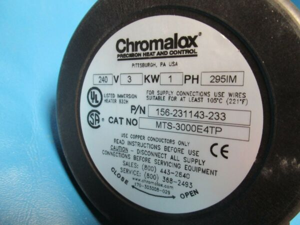 Chromalox 156-231143-233 Immersion Screw Plug Heater MTS-3000 E4TP 240VPD407-18