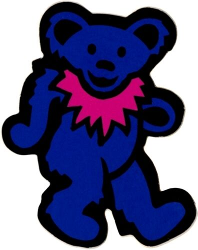23084 Blue Bear with Hot Pink Necklace Dancing Hippie Fun Animal Sticker / Decal