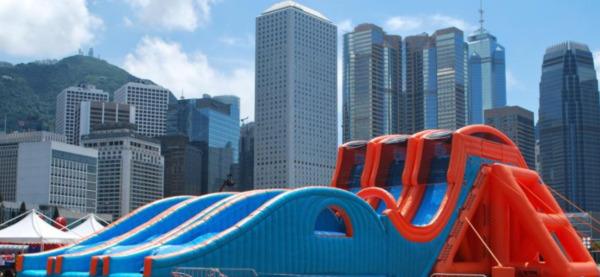 117'x46'x51' Commercial Inflatable Free Fall 2 Lane Sky Water Slide We Finance