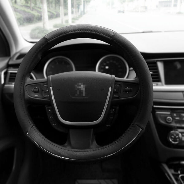 Leather Car Steering Wheel Cover Black Gray Size M 15