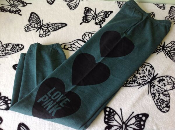 NWOT VICTORIA'S SECRET PINK GREEN BLACK HEART RARE LOGO GRAPHIC CAMPUS SWEATS XS